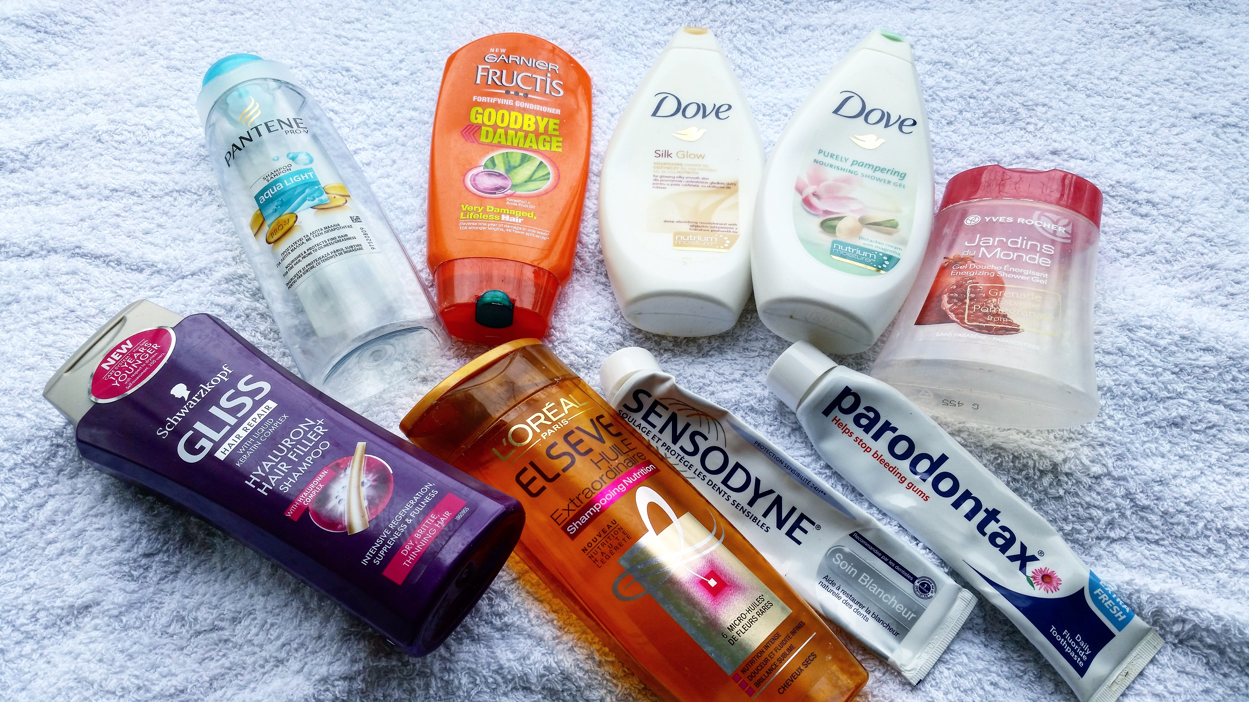 empties march  loreal dove gliss pantene garnier fructis sensodyne yves rocher - beautyandatwist